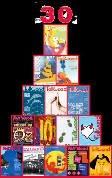 Kunst Plakatpyramide Tollwood Plakate